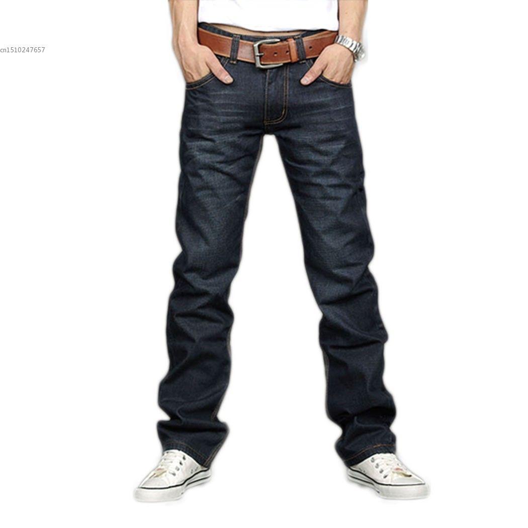 2018 Regular Fit jeans brand jeans male fashion Slim 100% high quality cotton denim blue men's jeans size: 28-40