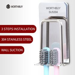 WORTHBUY Creative Toothbrush Holder 304 Stainless Steel Tooth Brush Holder Wall Suction Toothpaste Holder Bathroom Accessories