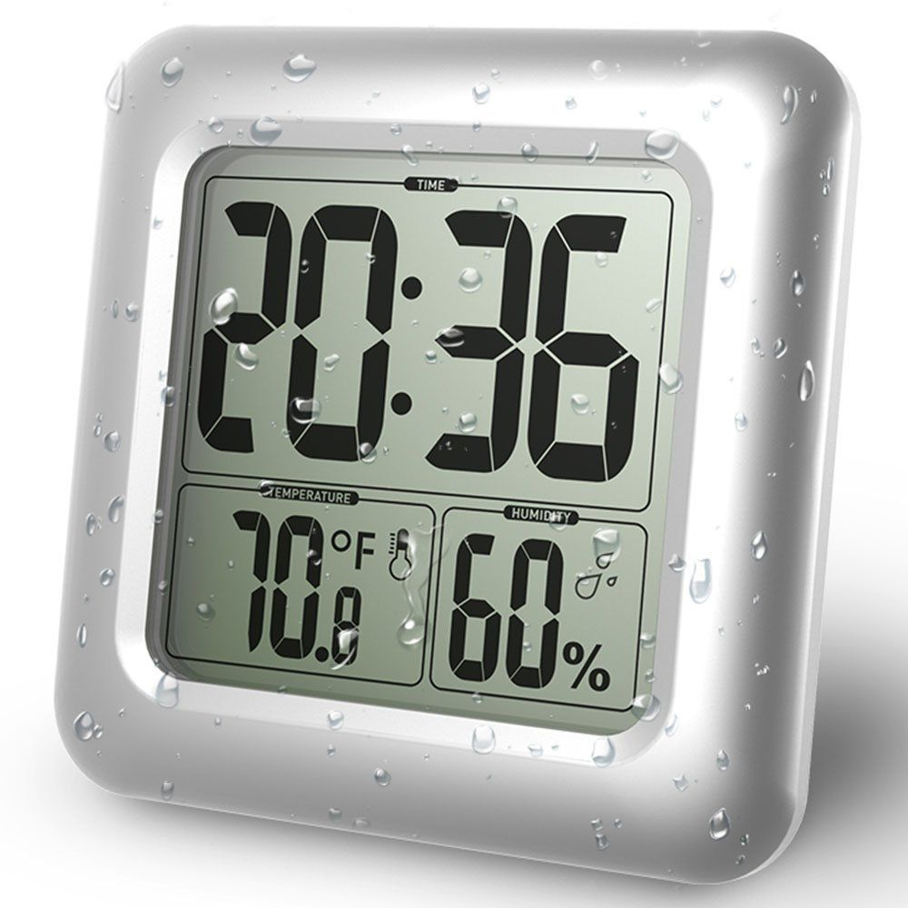 Baldr LCD Digital Wall Clock Waterproof Suction Cup Kitchen Bathroom Temperature Humidity Sensor Time Watch Shower Clock