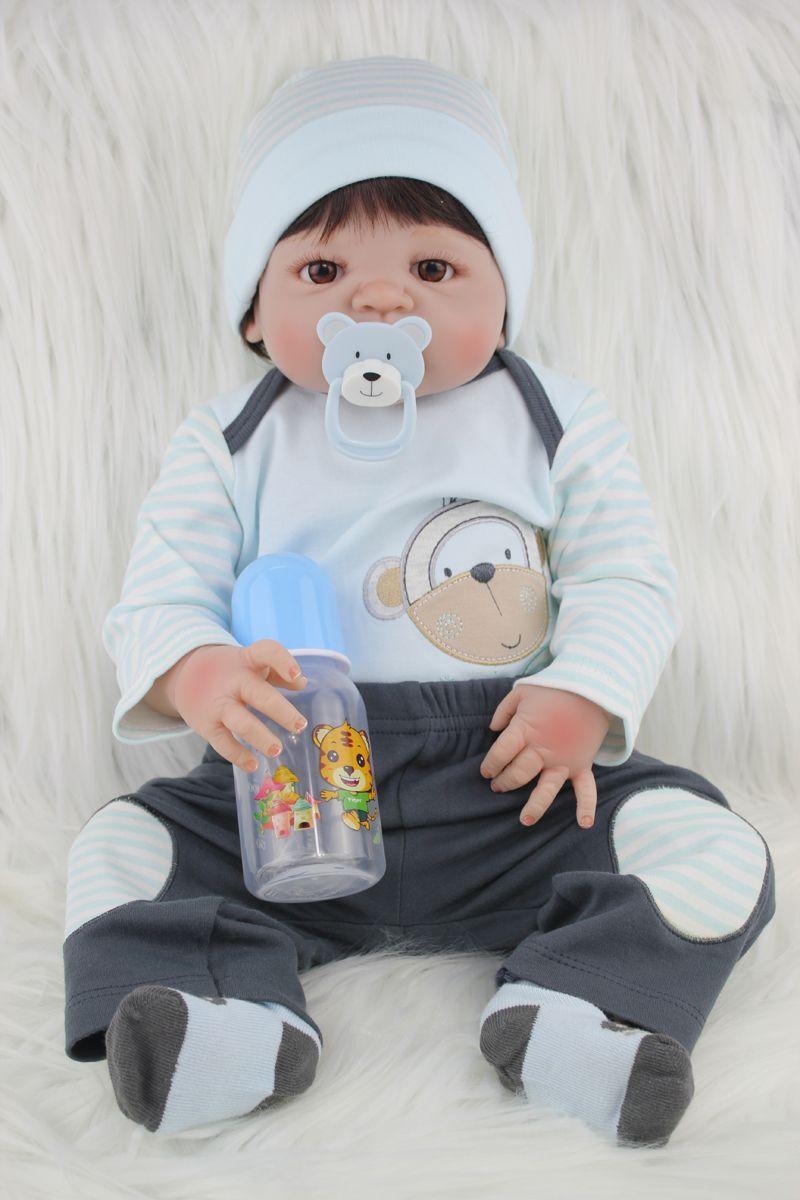 Full Silicone Body Reborn Baby Doll Toys Lifelike 55cm Newborn Boy Babies Dolls For Kids Fashion Birthday Present Bathe Toy