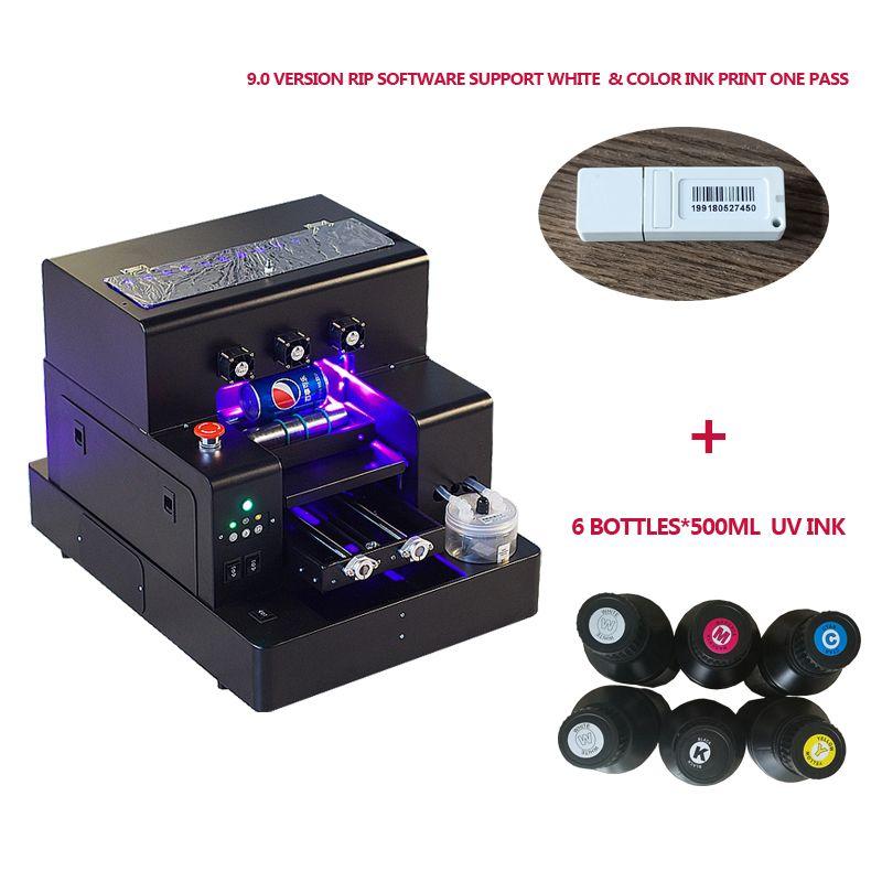 Automatische A4 größe Uv-flachbettdrucker maschine für telefon fall, flasche, acryl, leder mit 6*500ml pro set UV tinte enthalten