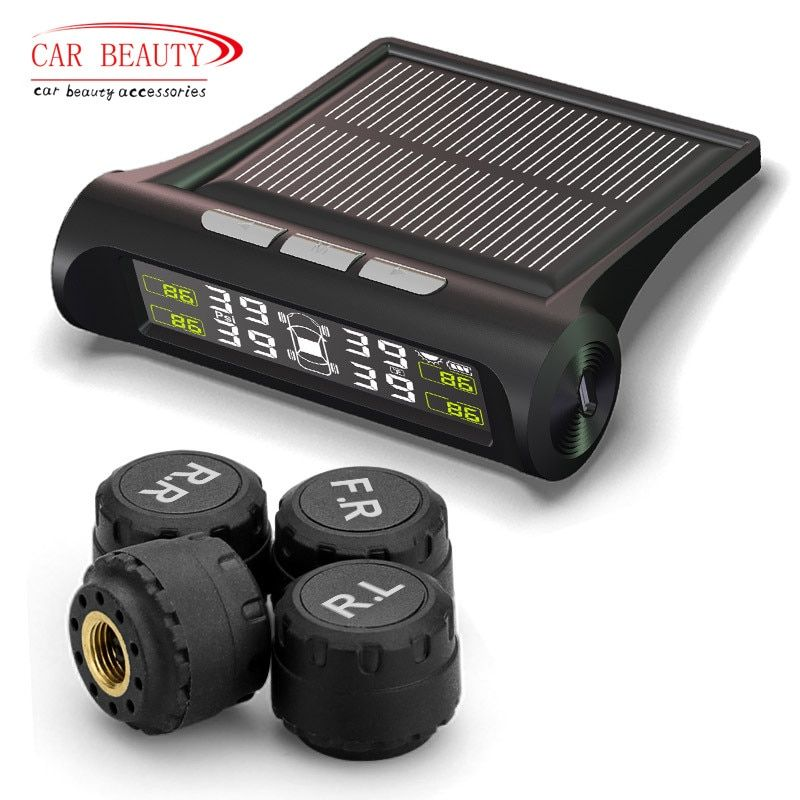 Smart Car TPMS Tyre <font><b>Pressure</b></font> Monitoring System Solar Power charging Digital LCD Display Auto Security Alarm Systems