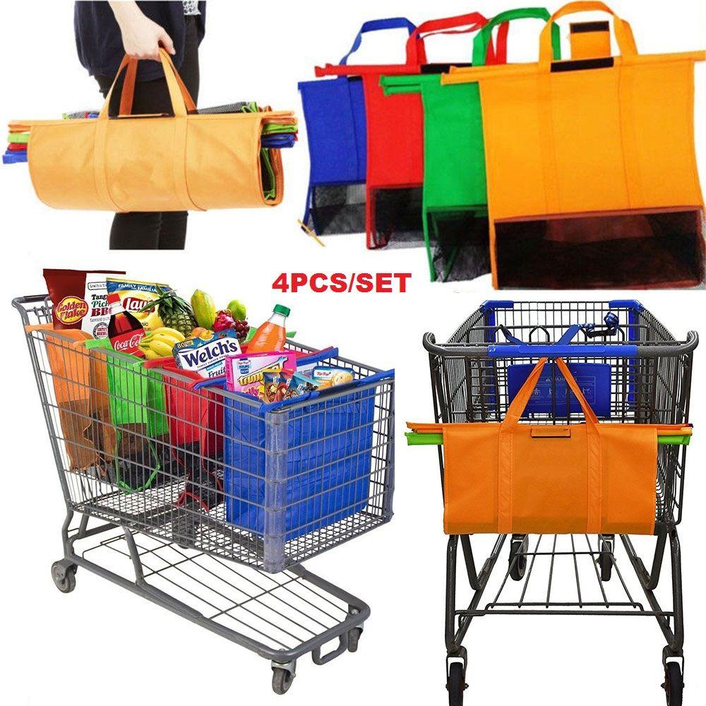 Panier Chariot Supermarché Sac À Provisions Sac D'épicerie Saisir Sacs À Provisions Pliable Fourre-Tout Écologique Réutilisable Supermarché Sacs 4 pcs/ensemble