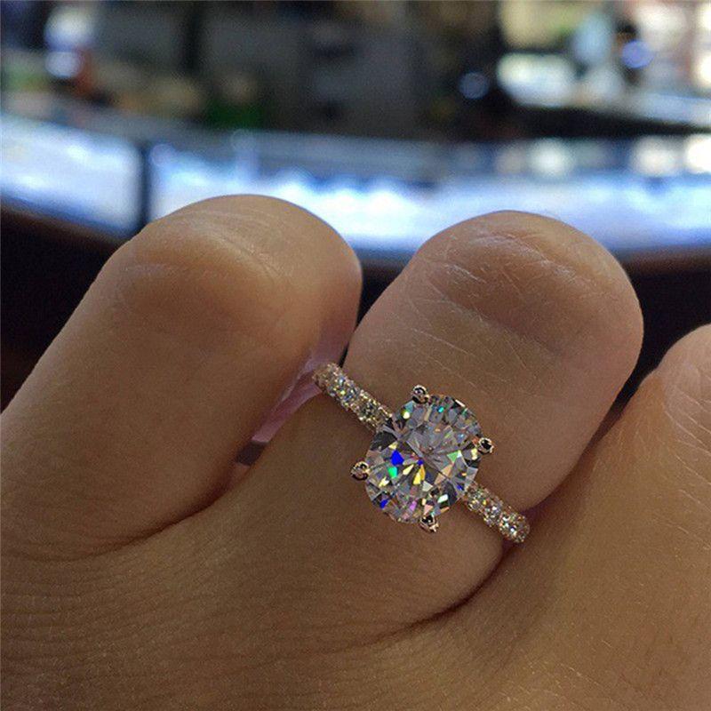 ROMAD Full Cubic Zirconia Wedding Ring for Women Crystal Finger Ring Full Filled CZ Female Engagement Ring aneis feminino R4