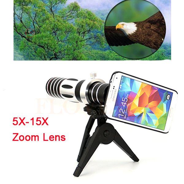 2017 Phone Camera Lentes Kit 5X-15X Telephoto Zoom Lens Telescope with Tripod For iPhone 6 6s 7 Samsung S3 S4 S5 S6 S7 edge Case