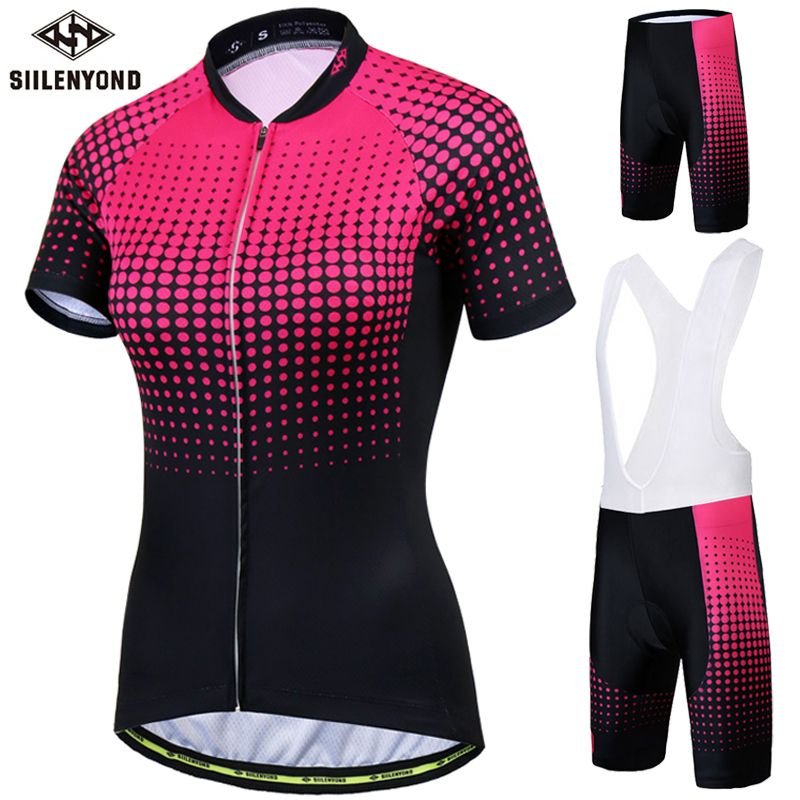 Siilenyond Pro Women's Cycling Jersey Set Road Bike Wear Cycling <font><b>Clothes</b></font> Suit Breathable Mountain Bicycle Cycling Clothing Suit