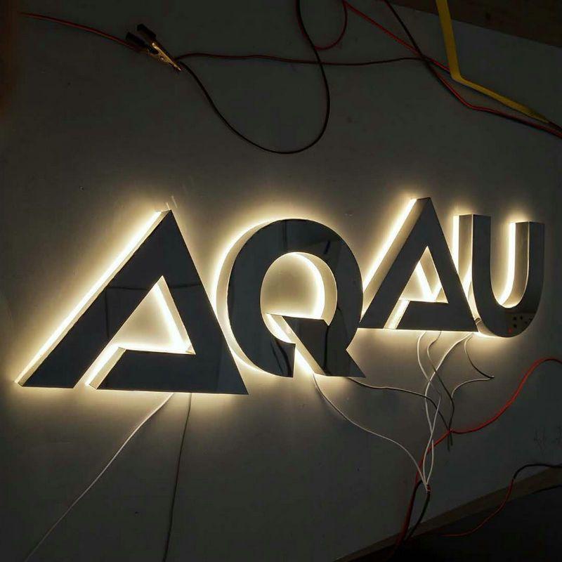 Custom Stainless steel backlit led business store front logo letter signage