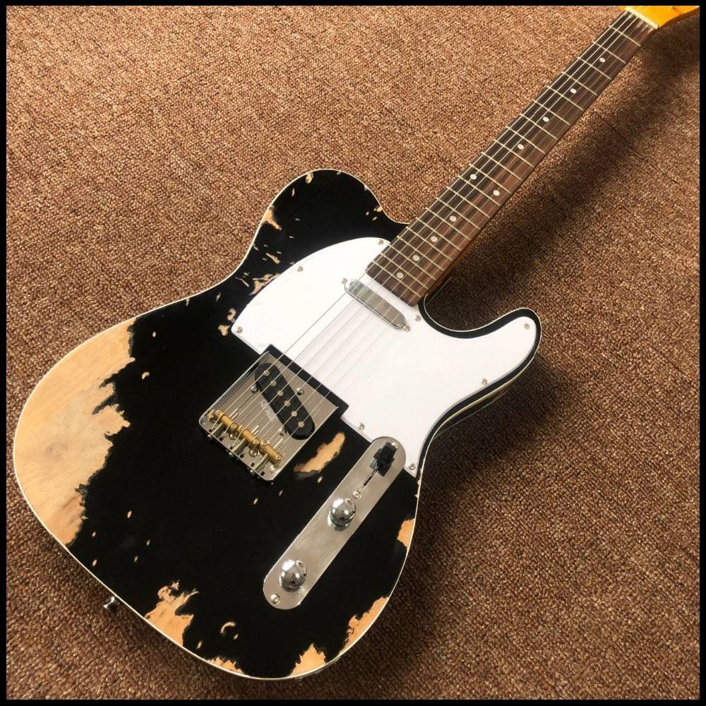 Custom shop, TEL 6 Saiten E-gitarre, gitarre reliquien durch hände guitarra. echt fotos zeigen