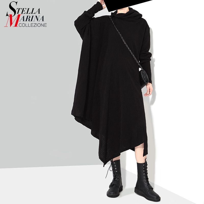 New 2018 Korean Style Women Autumn Winter Black Gray Sweater Dress Long Sleeve Plus Size Stretchy Girls Asymmetrical Dress 1803