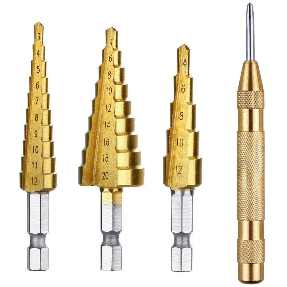 GTBL 3 pièces Titane HSS Étape Foret Ensemble & 1 pièces Poinçon Central Automatique