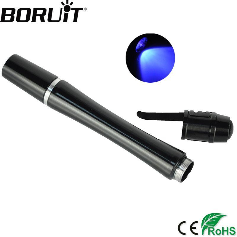 BORUiT 3 Watt Mini Taschenlampe 395nm Uv Led-taschenlampe Aluminiumlegierung UV Stift Licht Bernstein Tragbare Lanterna Durch AAA batterie