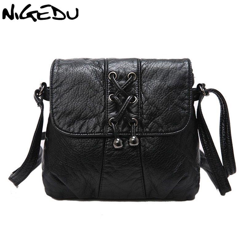 NIGEDU Soft leather Women Messenger bag casual Woven tassels women's shoulder Crossbody bag female handbag Black girl bag bolsa