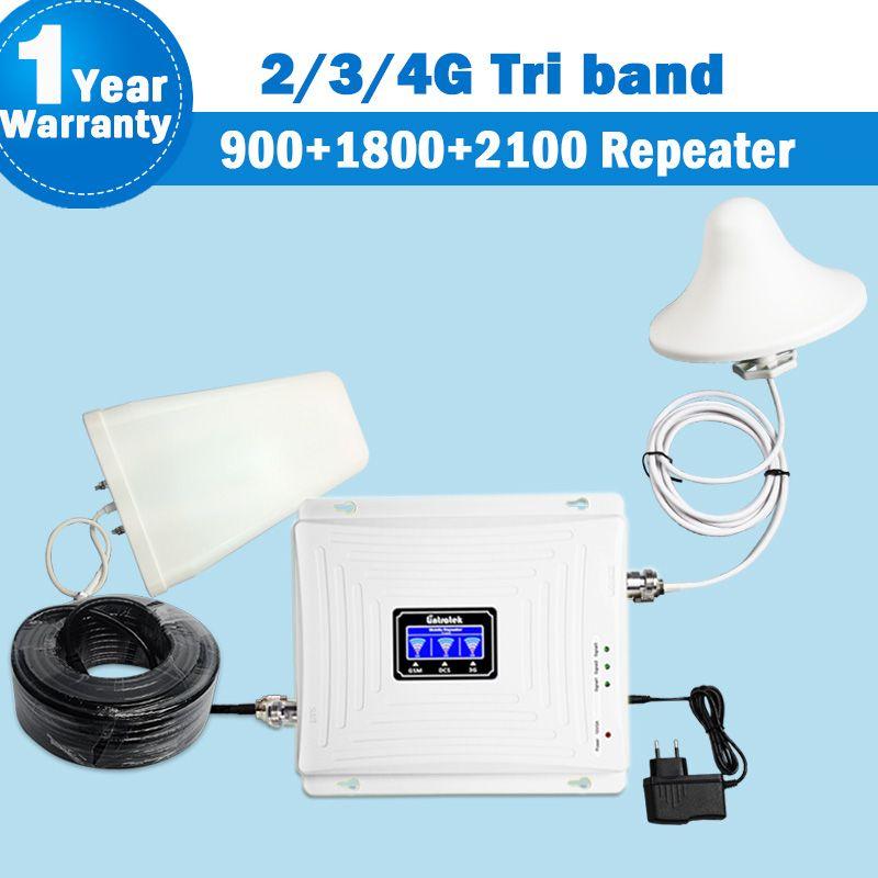 Lintratek NEUE Tri-band Repeater 2G 3G 4G GSM 900 DCS/LTE 1800 WCDMA/UMTS 2100 MHz Verstärker Mobil Signal Antenne Set Booster S29