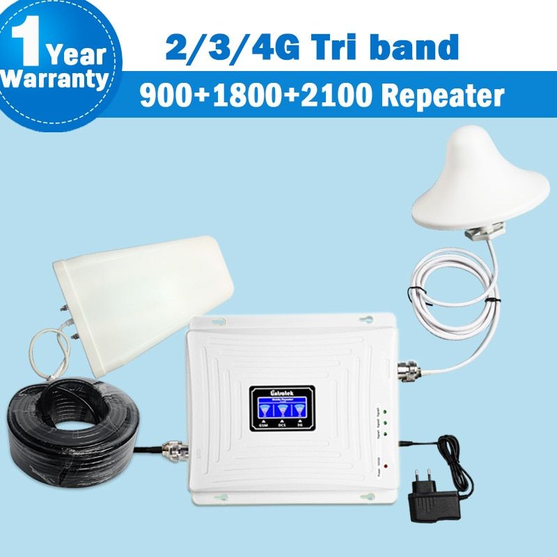 Lintratek Tri Band Repeater 2G 3G 4G GSM 900mhz dcs 1800 WCDMA/UMTS 2100MHz Amplifier Antenna Mobile Phone 4g Signal Booster 45