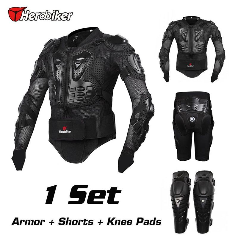 HEROBIKER 2017 New Motorcross Racing Motorcycle Body Armor Protective Jacket+Gears Short Pants+Protective Motorcycle Knee Pad