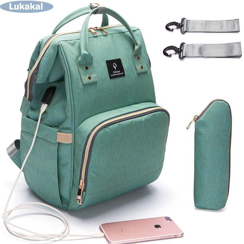 2018 USB Interface Mummy Bag Backpack Large Capacity WaterProof Baby Diaper Bag Maternity Carry Bolsa Luiertas Bag For Baby Care