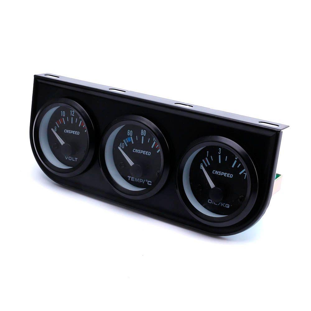 CNSPEED 52mm 3 en 1 indicateur de contrôle Volt jauge + jauge de température de l'eau + jauge de pression d'huile compteur voiture Auto jauge XS101266