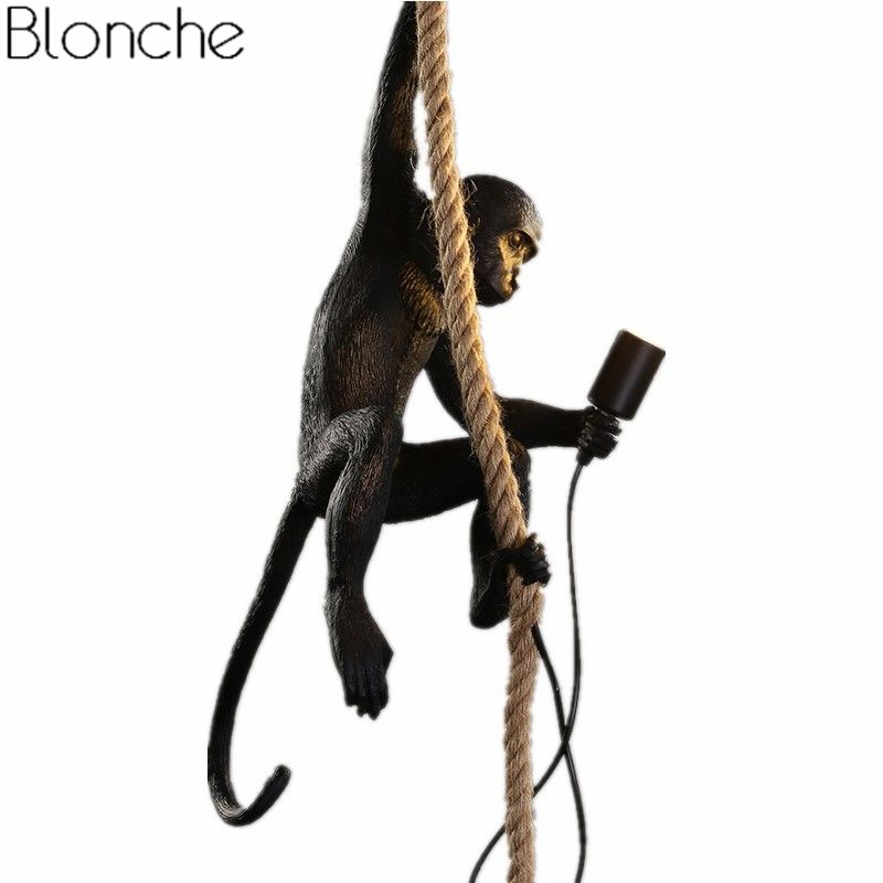 Modern Black Monkey Lamp Pendant Lights Industrial Hemp Rope Resin Hanging Lamps Living Room Luminaire Home Loft Decor Fixtures