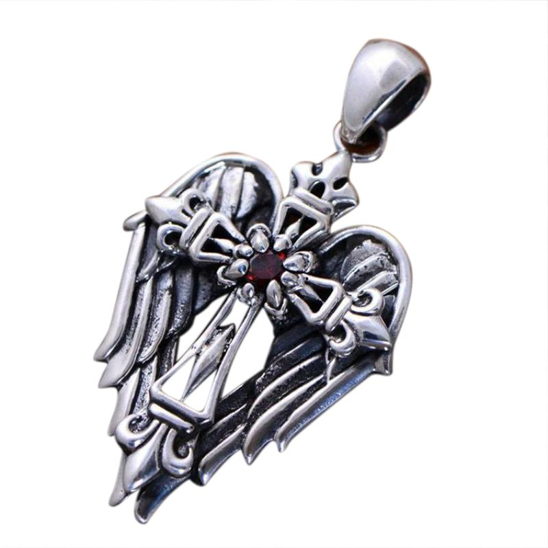 Real 925 Sterling Silver Vintage Cross Pendant With Angel Wings Male Christian Jewelry Inlaid Natural Garnet Stone