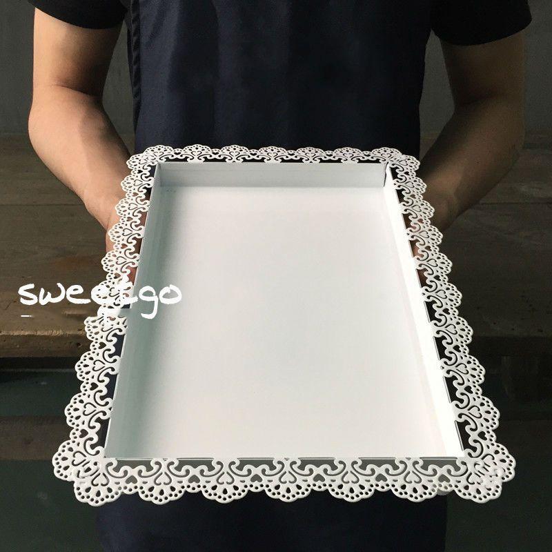 SWEETGO mariage décoration plateau métal fer blanc rectangle plaque pour gâteau outil accessoire plaque pour fête décoration ustensiles de cuisson