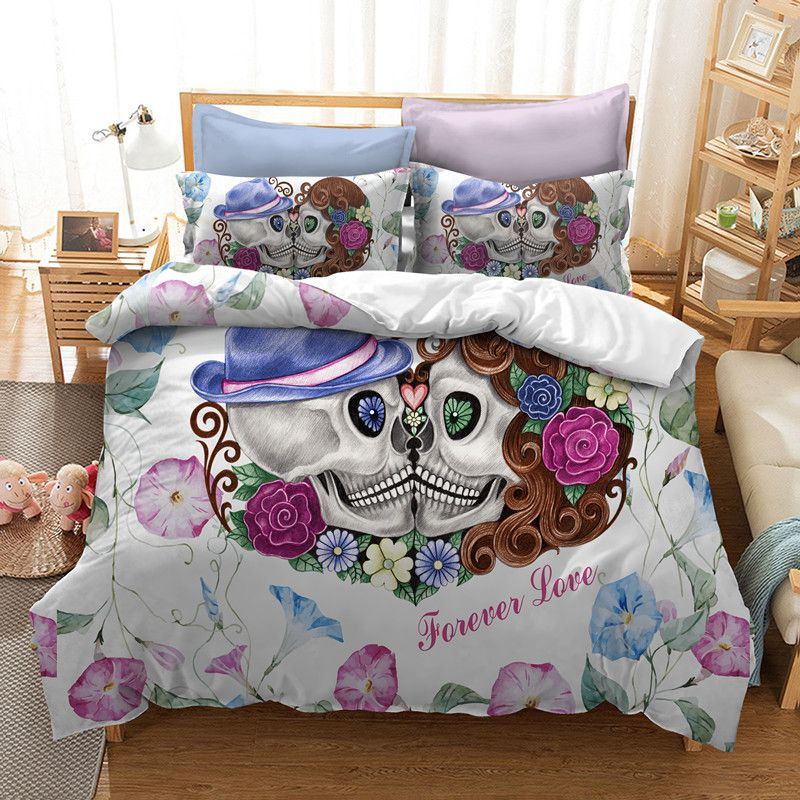 Fanaijia 3d <font><b>Couples</b></font> skull Bedding Sets for queen Size sugar Flowers kissing skull duvet cover with pillowcase king Bed bedline
