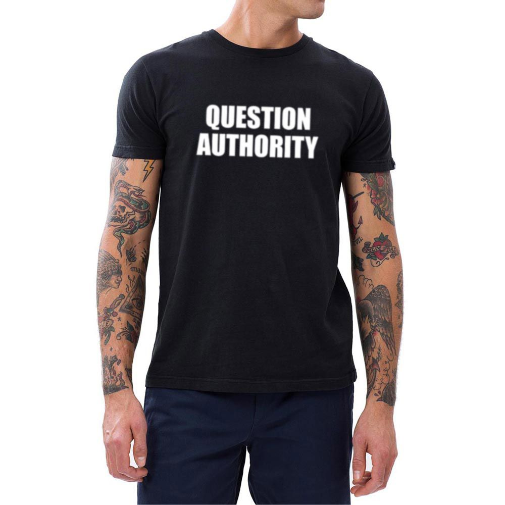 Mens Question Authority Funny Sarcastic Political Anarchy T-shirts Men Tee