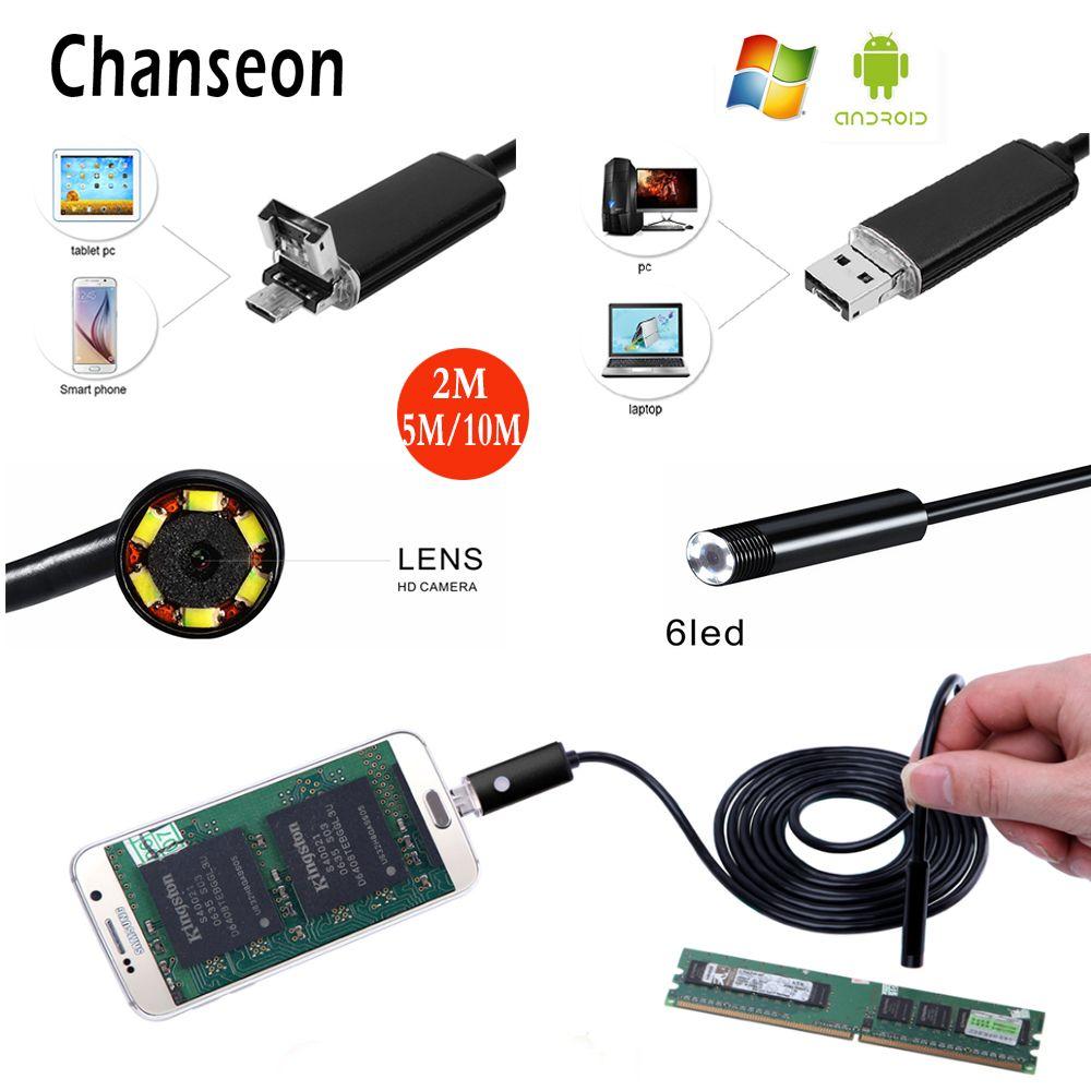 2 dans 1 8mm HD 720 p USB Endoscope Caméra Mini Étanche Souple Câble Caméra D'inspection Endoscope Endoscope OTG PC Endoscope