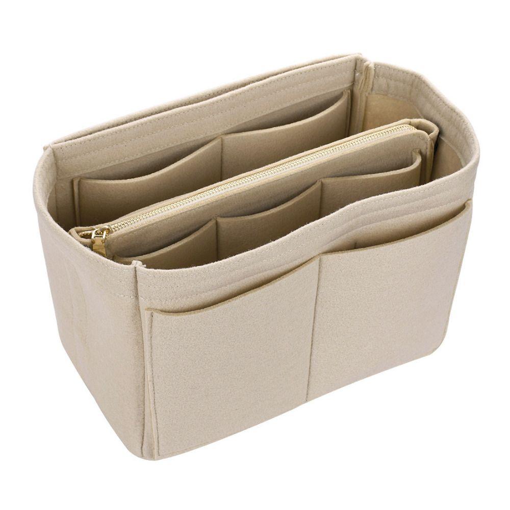 Offre spéciale sac de maquillage étuis à cosmétiques feutre sac organisateur insérer sacs à cosmétiques étui de maquillage voyage trousse de toilette sacs à main organisateur