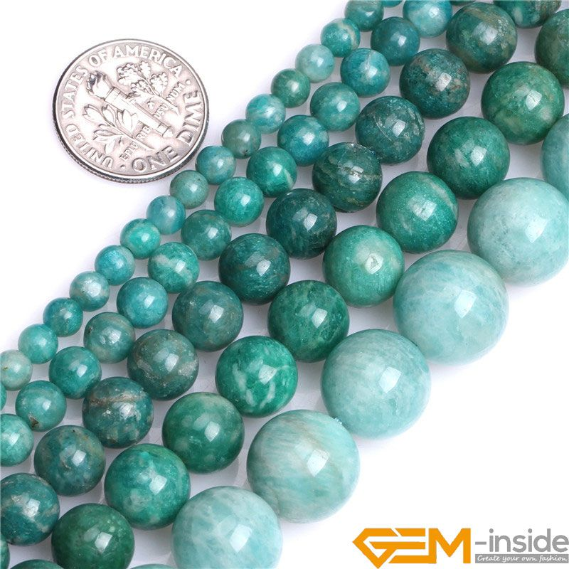 Natural Gem Stones 6mm 8mm 10mm Russian Amazonite Round Stone Loose Beads For Jewelry Making Strand 15