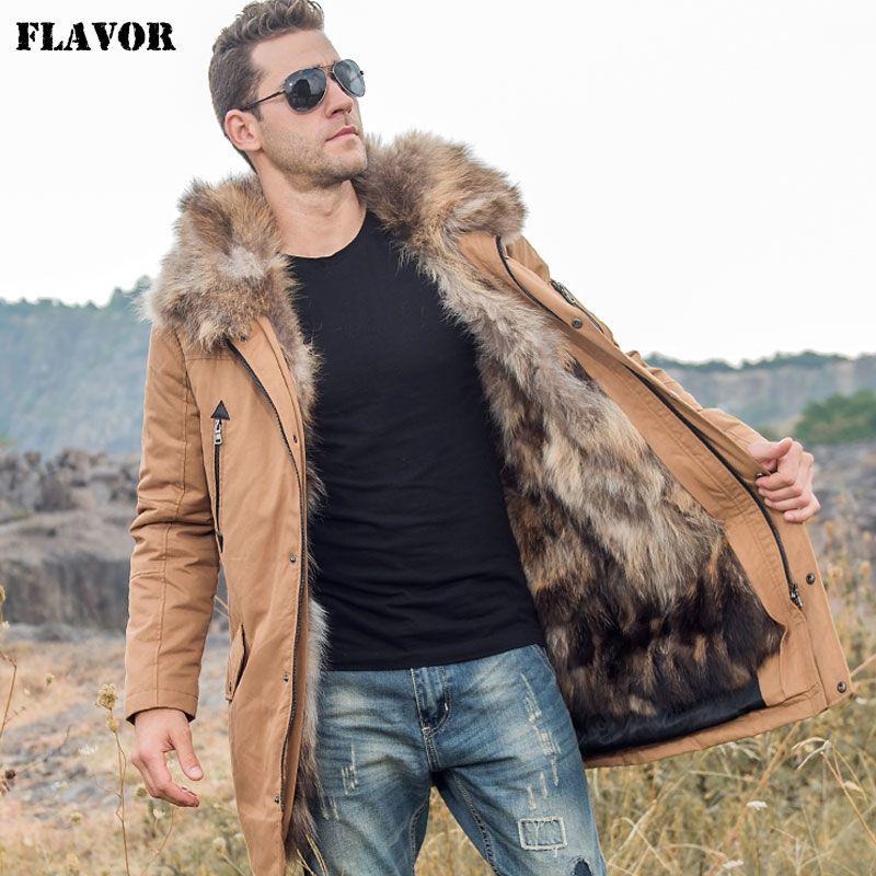 GESCHMACK männer Unten Jacke Männer Echtpelz Parka mit Abnehmbare Waschbären Pelz Liner Kapuze Winter Lange Warme Unten Mantel