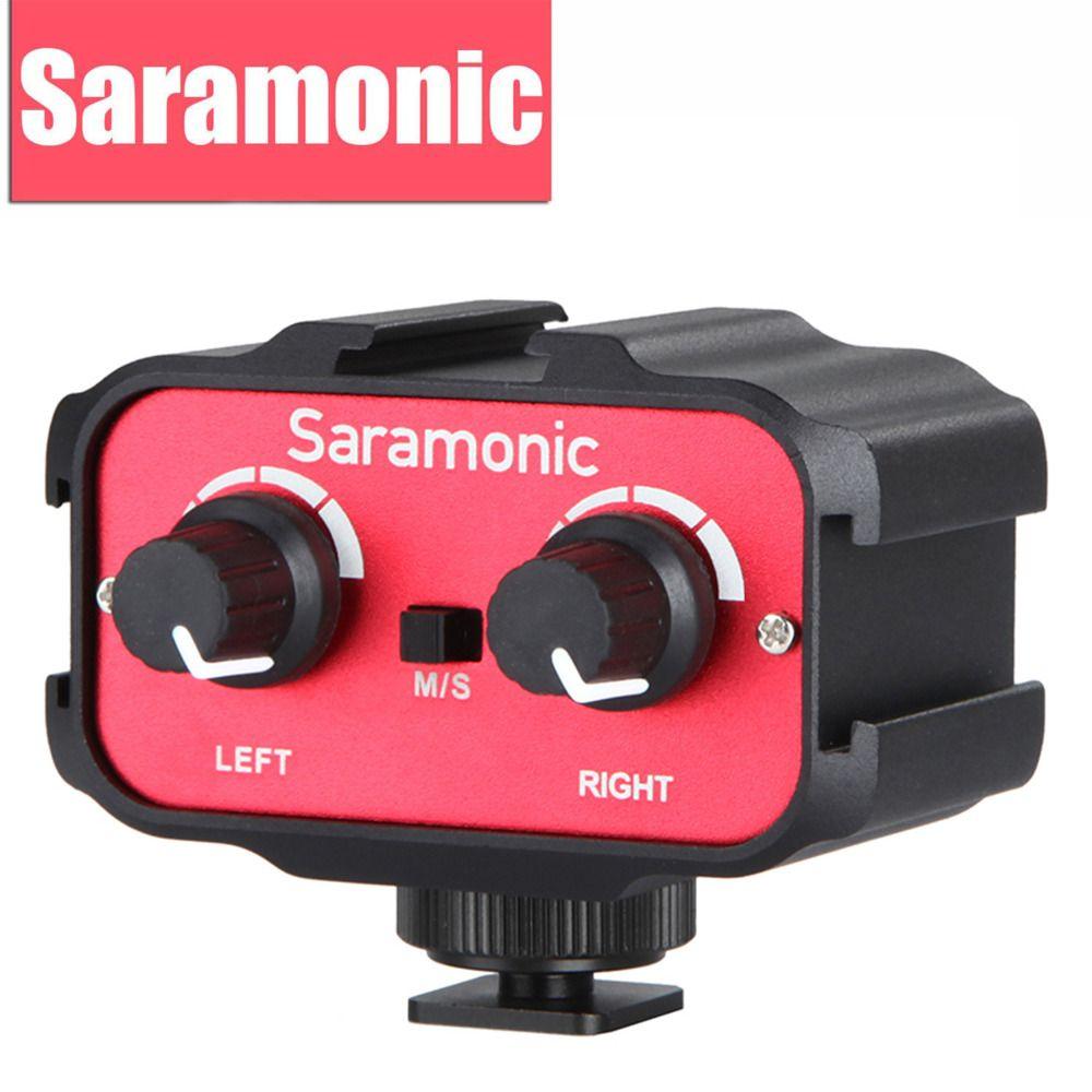 Saramonic Universel Microphone Audio Adaptateur Mélangeur avec Stéréo & Double Mono 3.5mm Entrées pour Canon Nikon Dslr Caméscope