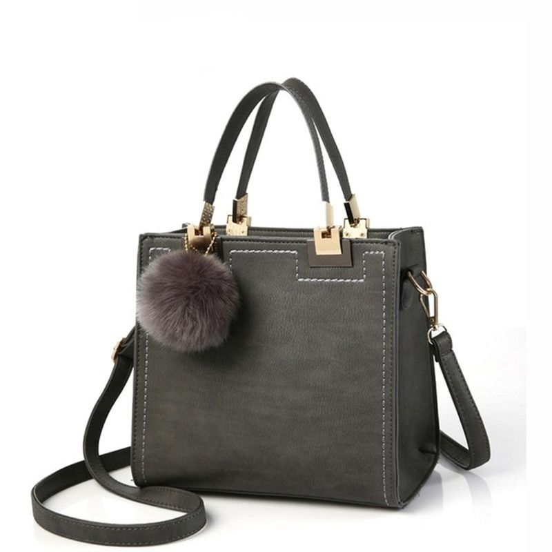 DAUNAVIA Brand Top-Handle Bags Women Leather Handbags Large Solid Shopping Tote With Tassel Fur Ball Shoulder Bag Messenger Bags