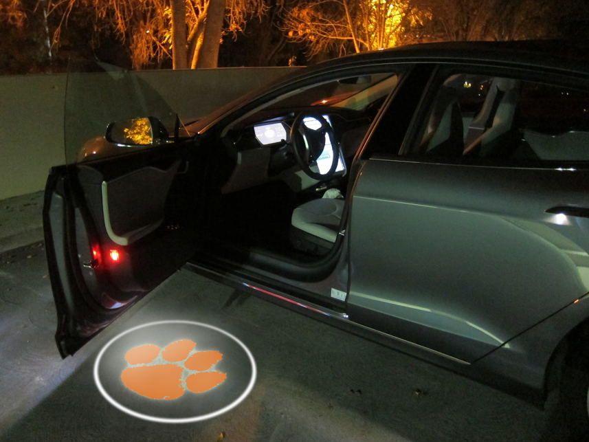 2pcs Wireless Car Door Led Welcome CLEMSON TIGERS team Logo Ghost Shadow Light Batman Car-styling Car Interior Lamp Light