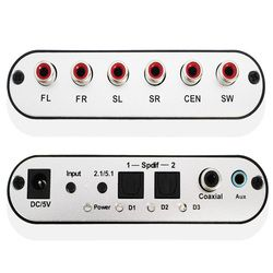 5.1 Channel Digital Audio Decoder Converter HD Rush Peralatan Audio Surround Sound Decoder untuk Home Theater