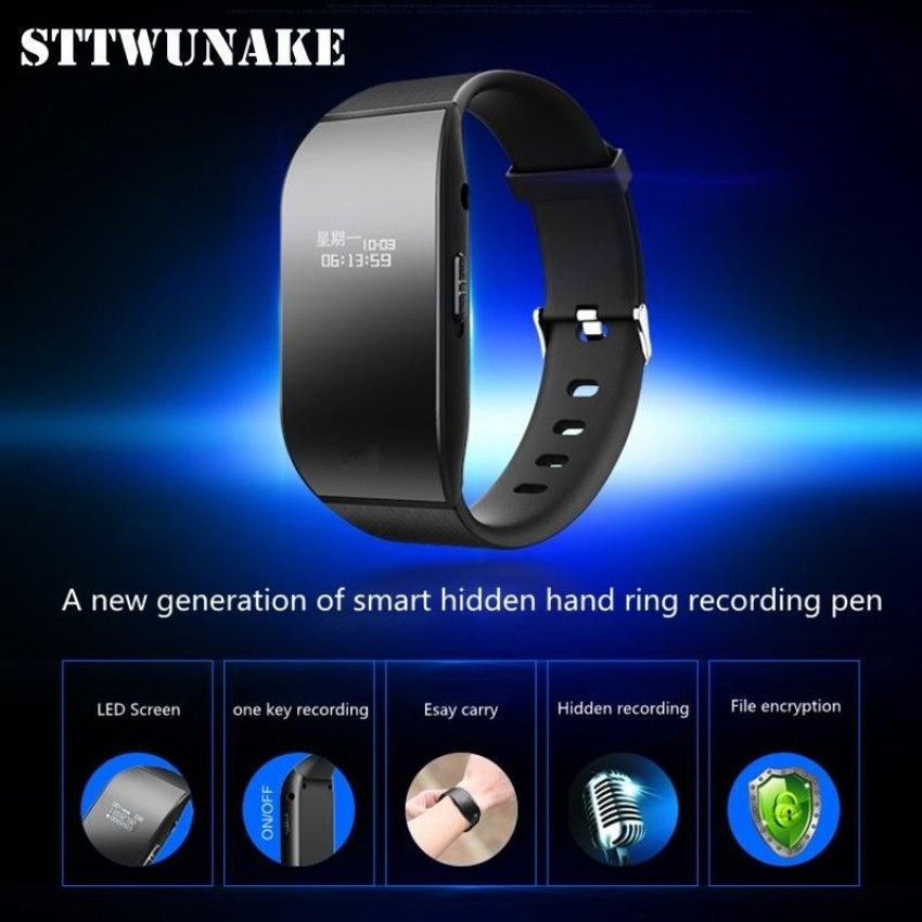 STTWUNAKE hidden bracelet voice recorder Professional Digital 8GB HD noise reduction Time stamp Spy voice recorder watch