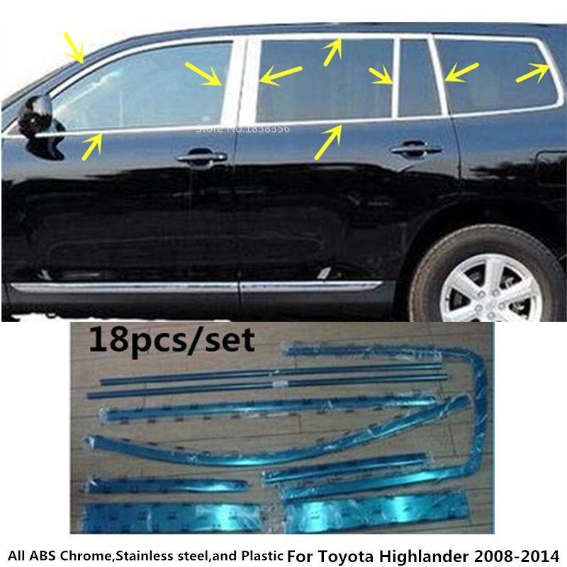 Car stick stainless steel glass window garnish pillar column trim hood for Toyota Highlander 2008 2009 2010 2011 2012 2013 2014
