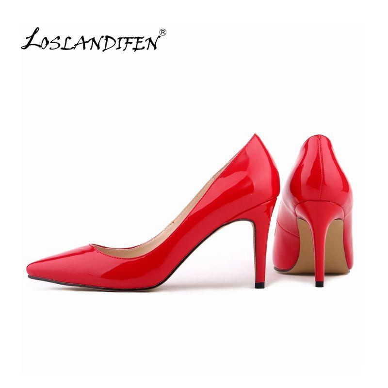 LOSLANDIFEN femmes pompes en cuir verni mode bout pointu chaussures à talons hauts dame corset travail pompes COURT chaussures US 4-11 952-1 PA
