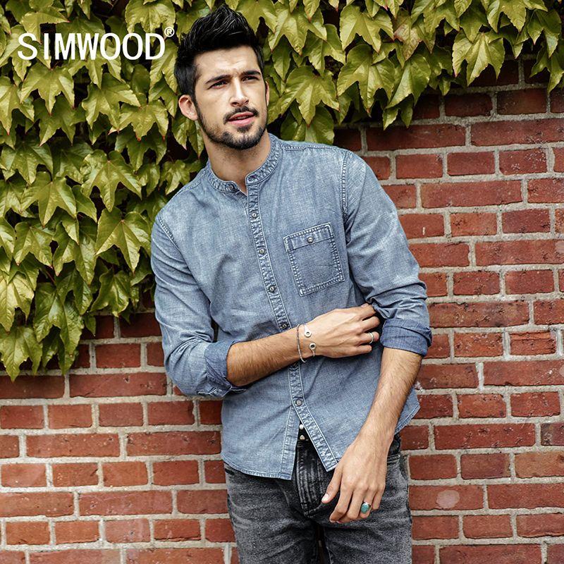 Simwood 2018 Мода весна Рубашки для мальчиков известного бренда с длинными рукавами из 100% хлопка Джинсовые рубашки Для мужчин Повседневное Для м...