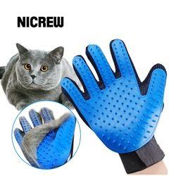 Nicrew guante para Animal Grooming cepillo guante táctil perro Gentle eficiente masaje de espalda piel lavado baño cepillo peine