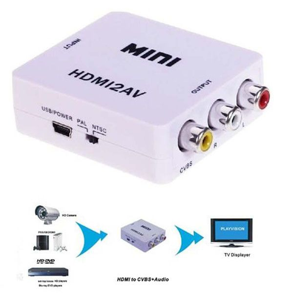 Mini Composite 1080P HDMI to RCA Audio Video AV CVBS Adapter Support HD For HD HDMI2AV Converter BOX For TV PC PS3 VCR DVD PAL