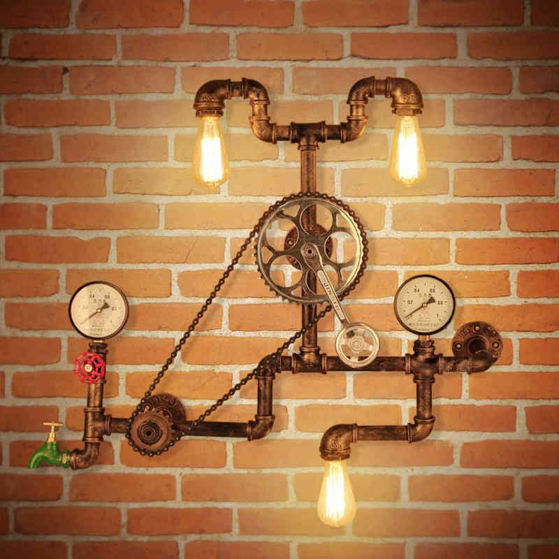 Vintage Wall Lamps Loft Industrial Wheel Water Pipe Wall Light Retro Lighting Fixture for Restaurant Bar dinning room