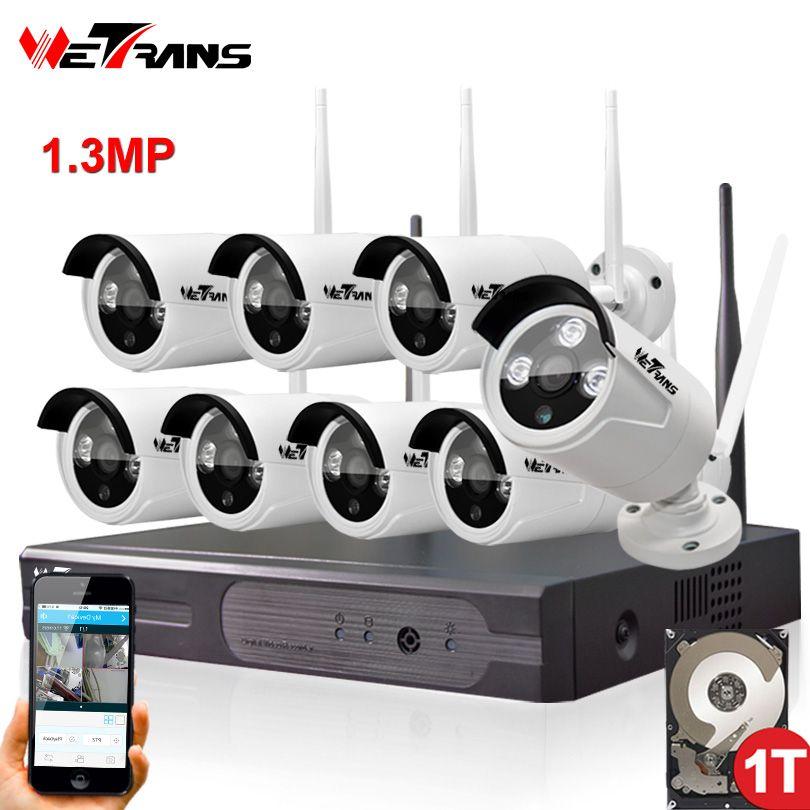 Sécurité à la maison Caméra CCTV Système Sans Fil DVR 8CH IP CCTV Kit HD 960 P P2P IR Nuit Vision Plug Play Vidéo Surveillance Wifi Kit