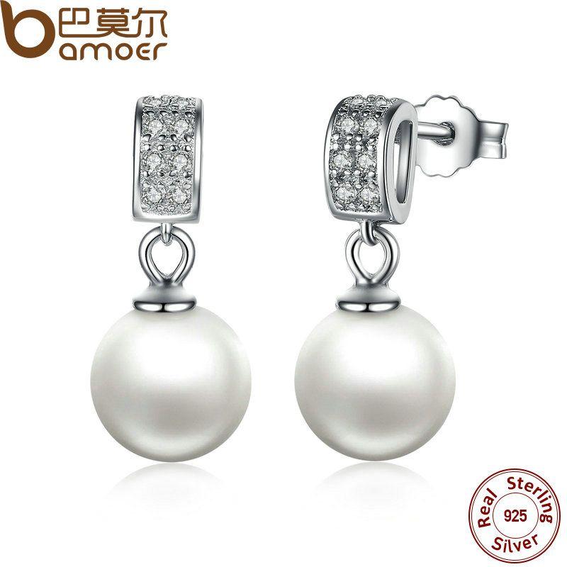 Ohrringe Feine Schmuck Weibliche Tropfen Ohrringe mit Perlen Ohrringe 925 Sterling Silber Schmuck Mutter Tag Geschenk SCE006