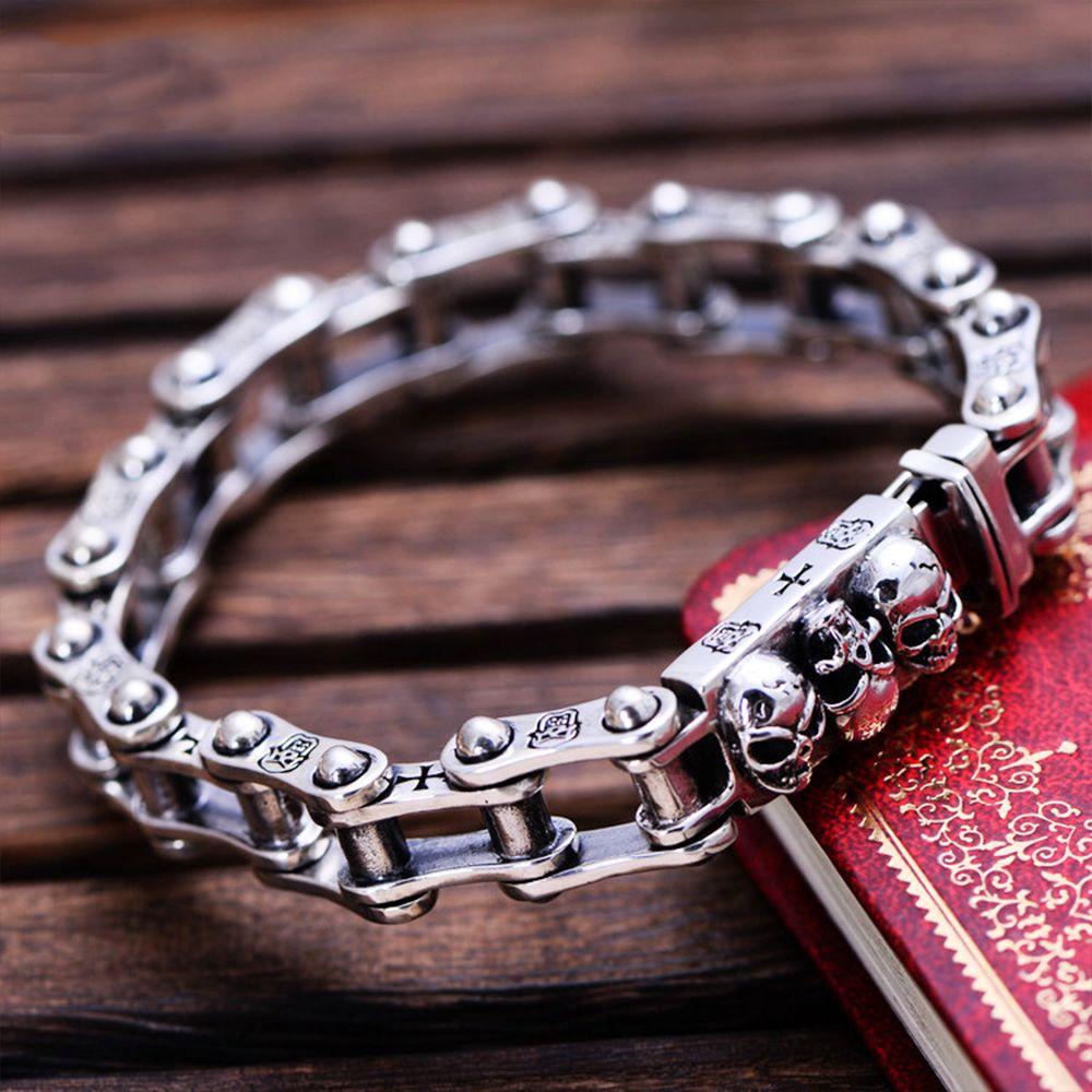 MetJakt Punk Rock männer Thai Silber Schädel Armband Solide 925 Sterling Silber Lokomotive Armband für Biker herren Schmuck