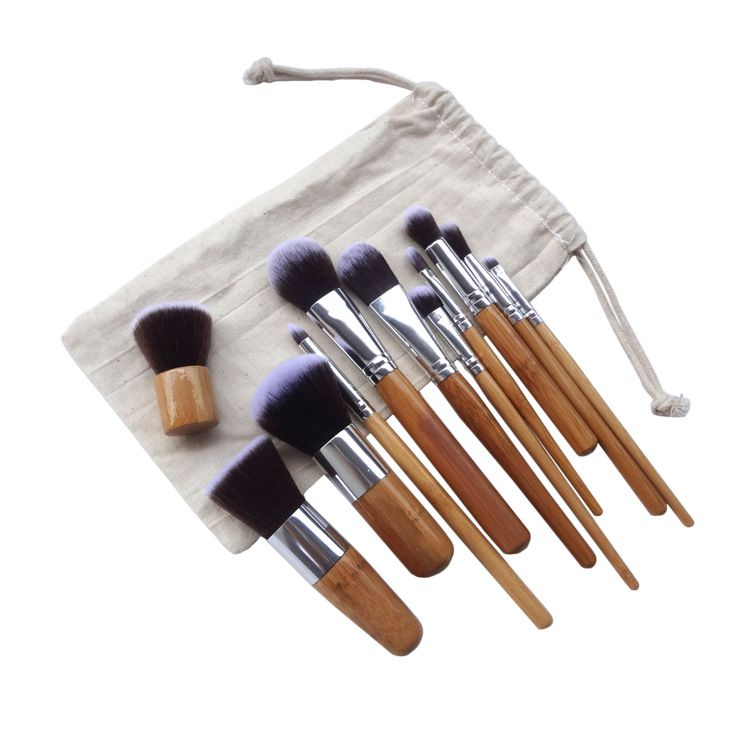 11 pcs Professionnel En Bambou Ensemble De Pinceaux De Maquillage Ombre À Paupières Pinceaux Maquillage Fond De Teint Kabuki Doux Brochas Maquillaje