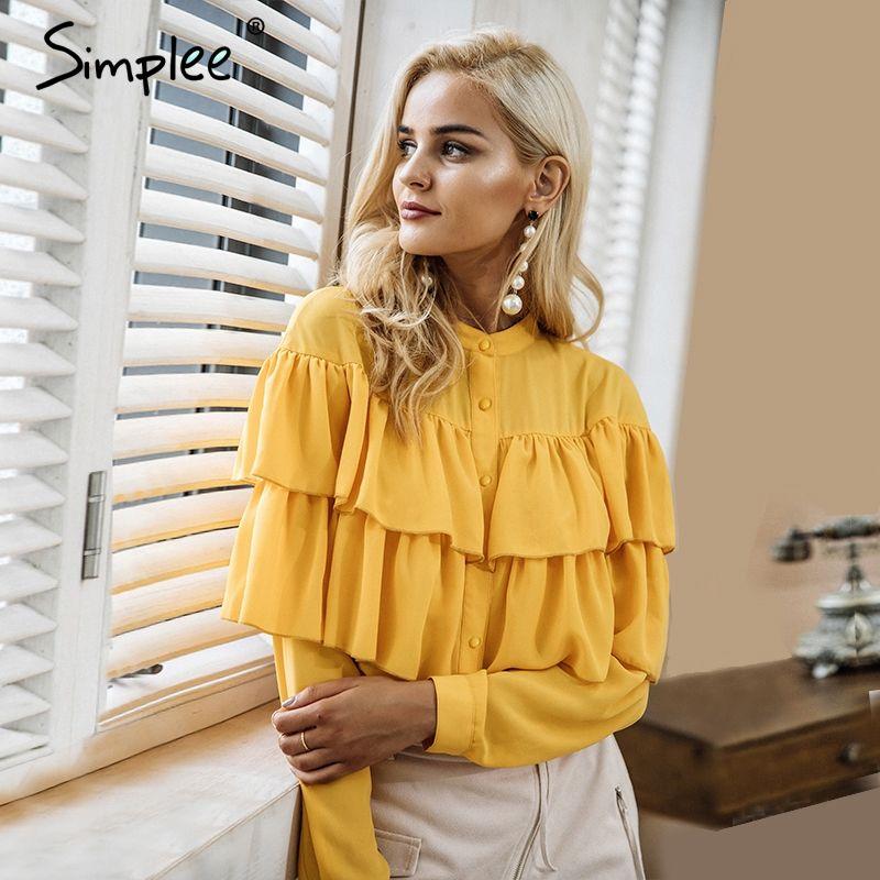 Simplee Elegant ruffles white blouse shirt women tops 2018 Long sleeve cool summer blouse Casual blusas chemise <font><b>femme</b></font> blusas new