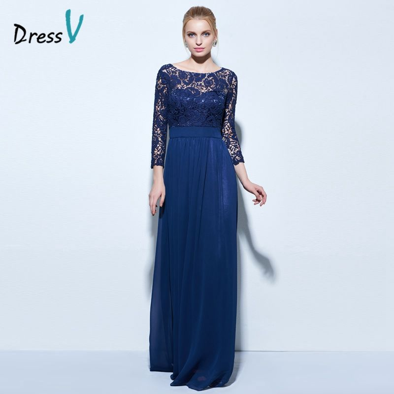 Dressv boat neck A-line lace evening dress dark navy 3/4 length sleeves zipper up long evening dress chiffon formal party dress