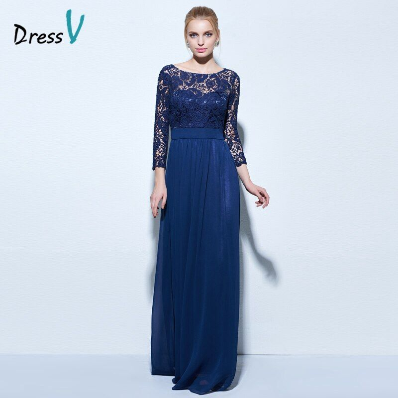 Dressv cuello barco una línea de encaje vestido de noche azul marino oscuro 3/4 longitud cremallera hasta vestido de noche largo formal del Partido de la gasa vestido