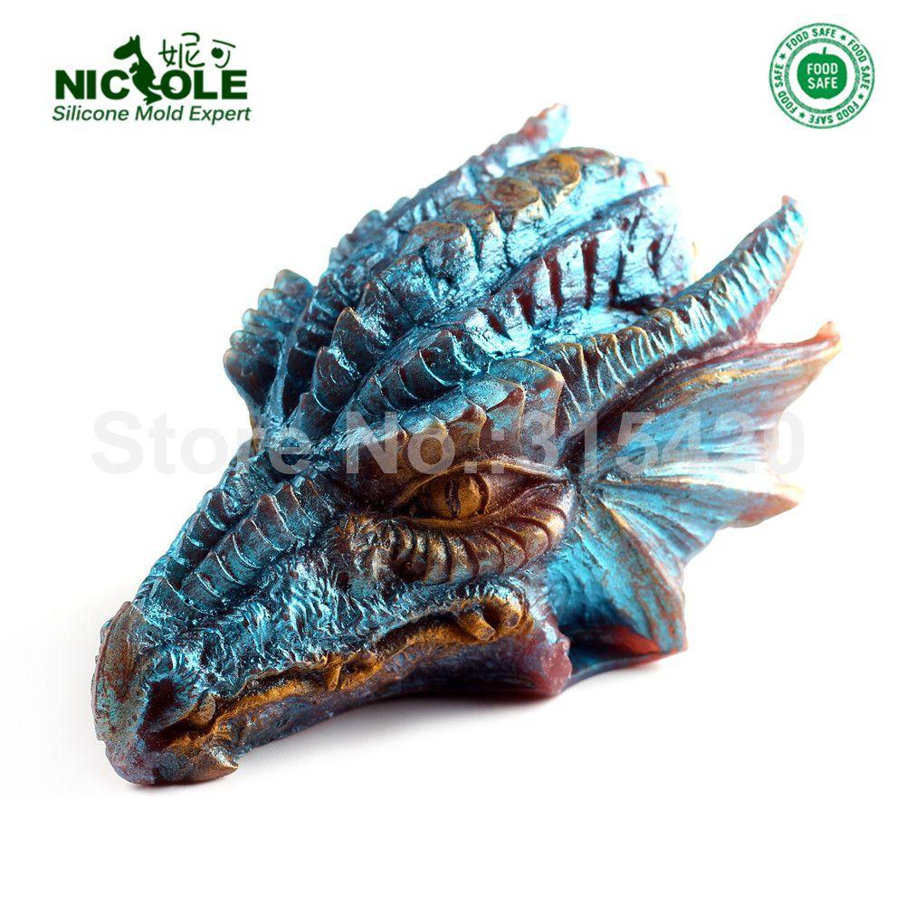 Silicone Savon moule à bougie 3D Dragon Forme Gâteau Au Chocolat Outils De Cuisson Non-bâton artisanat de résine