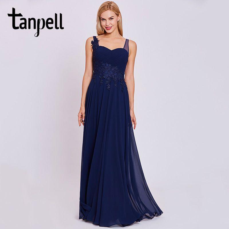 Tanpell straps evening dress dark royal blue sleeveless floor length a line gown cheap women appliques formal long evening dress